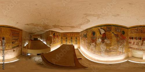 Fotografie, Obraz The tomb of the boy-king Tutankhamun Nebkheperure 'Burial chamber' , discovery in 1922