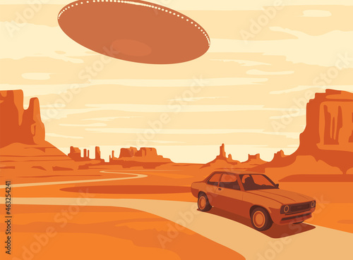 Fotografia Vector landscape with an UFO flying over the western rocky valley with a single passing car