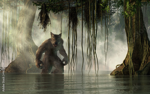 Photo The rougarou, a werewolf creature of Cajun folklore, emerges from the mists of the swamp
