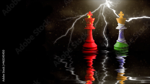 Fotografia china and india flags paint over on chess king