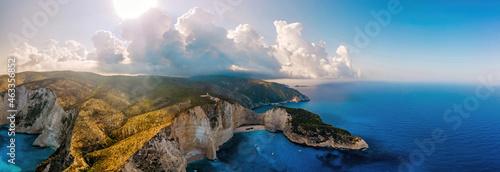 Fototapeta Aerial drone panorama view of the Ionian Sea coast of Zakynthos, Greece