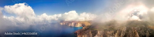 Fotografie, Obraz Aerial drone panorama view of the Ionian Sea coast of Zakynthos, Greece