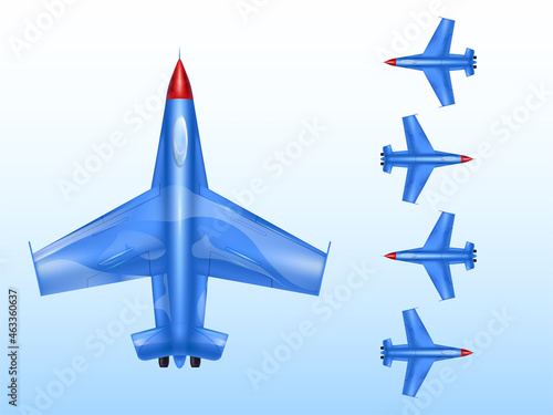 Military aircraft vector illustration of wartime aviation and combat airplane or Fototapet