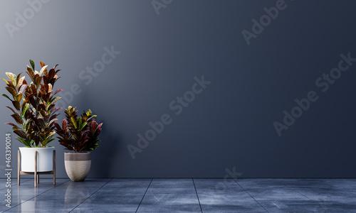 Photo Dark wall empty room with plants on a floor.