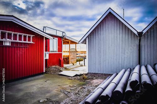 Foto Swedish boathouse in the winter