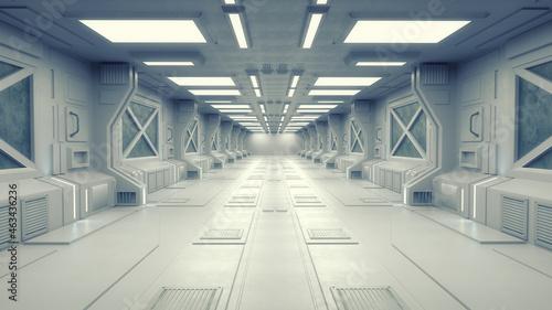 Obraz na plátně 3d render. Futuristic corridor interior design