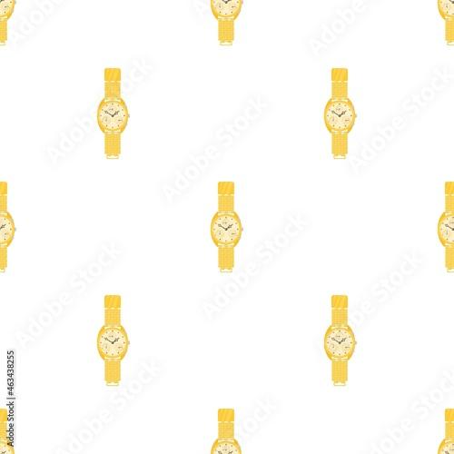 Valokuvatapetti Yellow wrist watch pattern seamless background texture repeat wallpaper geometri