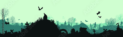 Foto Panoramic silhouette of a cemetery with zombies