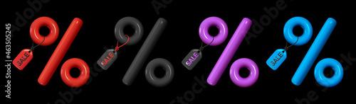 Set of Minimal 3d percent sign, Label symbol sales discount. Multicolored chameleon, red, purple and blue. Realistic design element. Black Friday Sale. Vector illustration