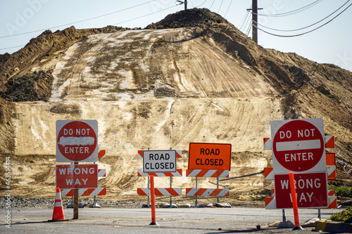 Road closed warning signs on construction site #463514414