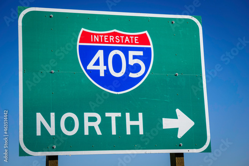 405 interstate freeway north sign in California #463514442