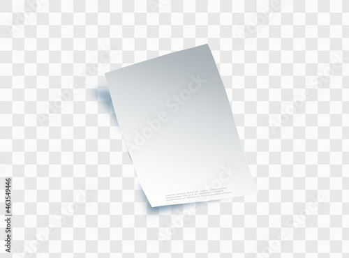Photographie Blank sheet of paper with page curl and shadow, design element for advertising and promotional message isolated on white background