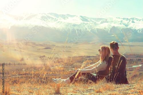 Fototapeta couple autumn altai lovers mountains, active adventures, travel happy tourism