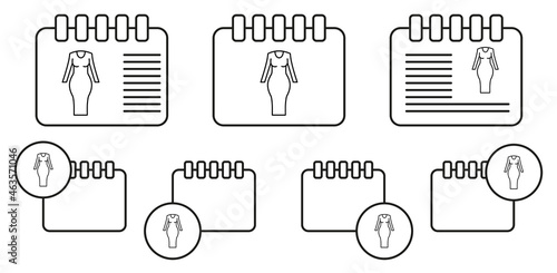 Woman fitted dress vector icon in calender set illustration for ui and ux, websi Fotobehang