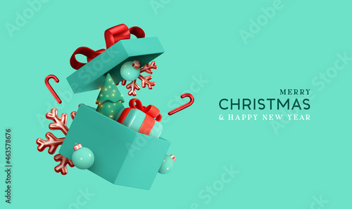 Christmas gifts box realistic 3d design. Xmas composition falling open blue gift boxes with festive decorative objects, Pine Tree, balls bauble. Happy new year holiday background. Vector illustration