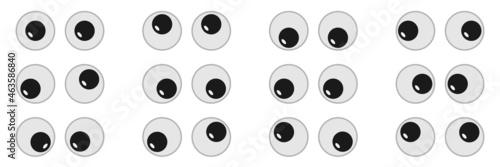Canvastavla Eyeball of toys set, googly eyes, plastic open eyes of dolls looking up down lef