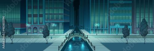 Valokuva City night embankment cartoon vector background