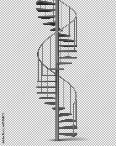 Fotografiet Metal spiral, helical staircase realistic vector