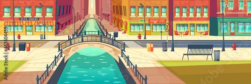 Valokuvatapetti Street cafes on city embankment cartoon vector