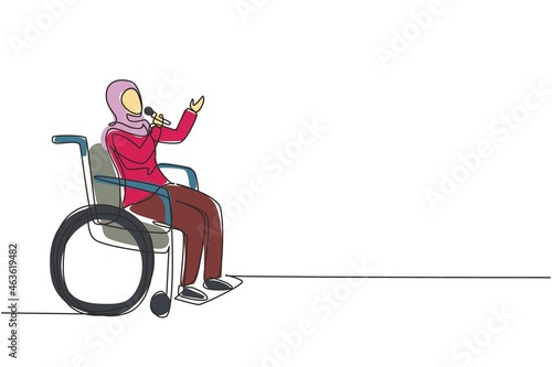 Canvas Single continuous line drawing disabled person enjoying life