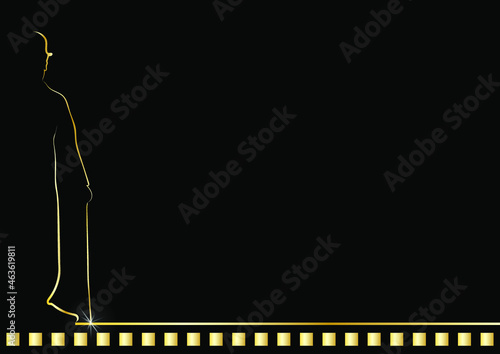 Canvas Golden line the silhouette man on black background