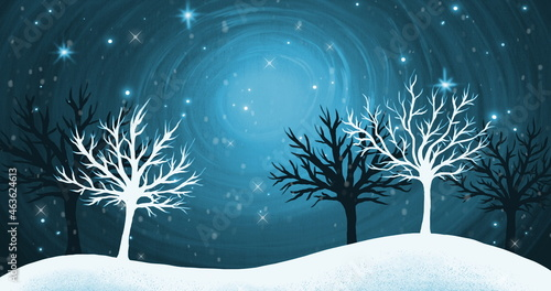 Snowflakes falling over winter landscape