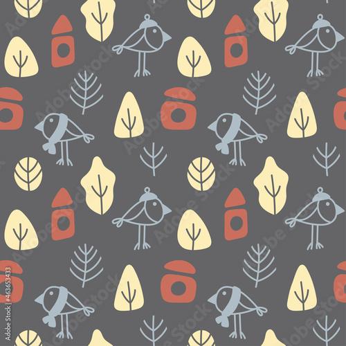 Billede på lærred Vector autumn seamless pattern  on a grey background