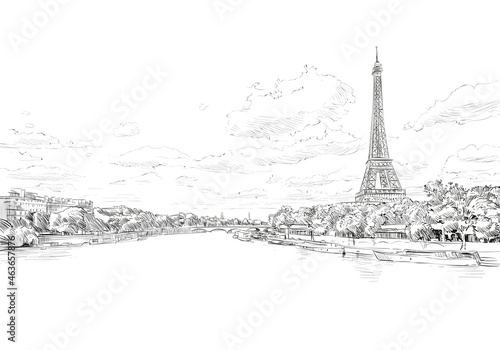 Canvas-taulu Romantic landscape view of the Eiffel Tower and Sena River