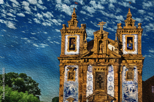 Murais de parede Facade and steeple in baroque style with ceramic tiles at the Saint Ildefonso Church in Porto