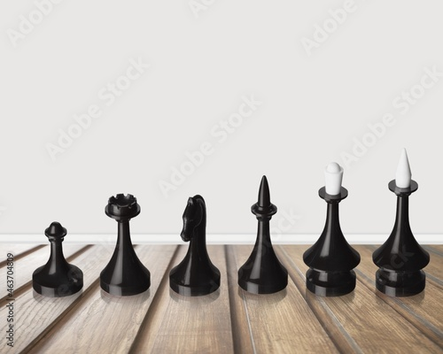Fototapeta Classic wooden chess includes king queen horse ship and pawn on background