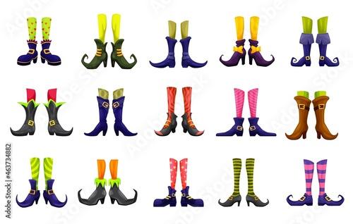 Fotografia, Obraz Cartoon vector legs of fairy, witch, sorceress, hellcat, elf and enchantress
