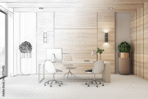 Sketch of modern wooden office interior with desktop, equipment, window with city view and other items. Workplace, repairs, refurbishment, project and design concept. 3D Rendering.