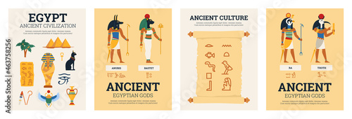 Canvastavla Set of four posters with ancient egyptian mythology concept in flat cartoon styl