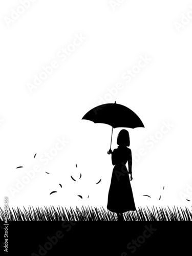 Wallpaper Mural Silhouette of cute girl with umbrella, black color, autumn, tree, street lamp