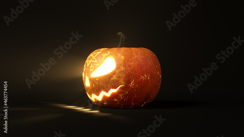 Fotografia conjured Halloween pumpkin with glowing eyes