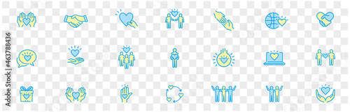 Fotografia Friendship partnership handshake and love line icons.