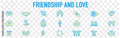 Murais de parede Friendship partnership handshake and love line icons.