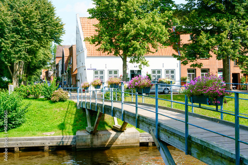 View and details of Friedrichstadt, a town in the district of Nordfriesland, in Schleswig Holstein, Germany Fototapeta