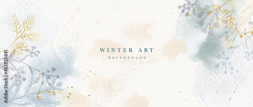 Winter background vector. Hand painted watercolor and gold brush texture, Flower and botanical leaves hand drawing. Abstract art design for wallpaper, wall arts, cover, wedding and invite card.
