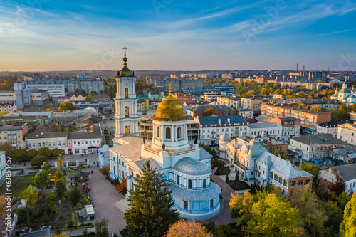 Canvas-taulu Aerial view to Saviour-Transfiguration cathedral in Sumy