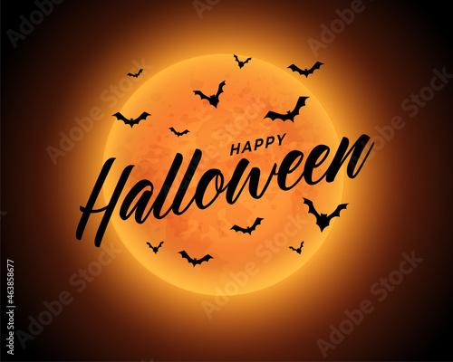 orange moon happy halloween background with flying bats