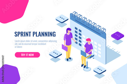 Fotografie, Obraz sprint planning isometric concept, calendar filling, important Affairs reminder,