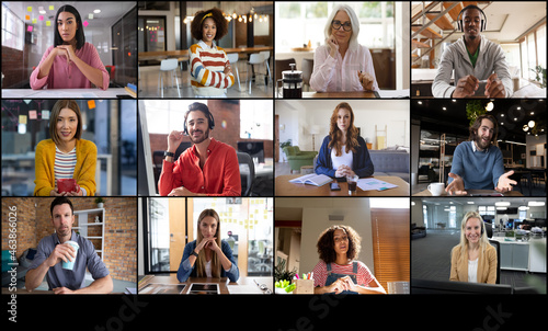 Video call interface with twelve diverse male and female work colleagues on screen