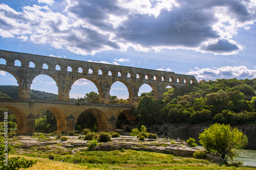 Fotografie, Obraz Pont du Gard aqueduct