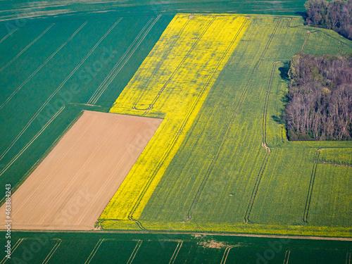 Canvas Print vue aérienne de champs à Banthelu dans le Val d'Oise en France