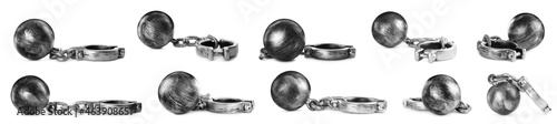 Fotografie, Obraz Set with metal balls and chains on white background, banner design
