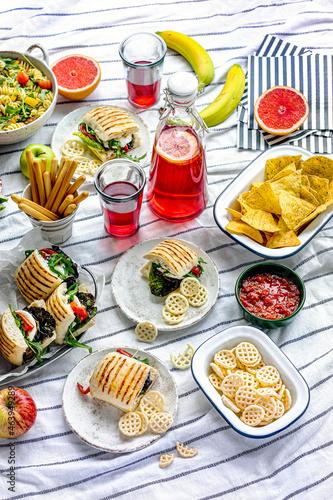 Murais de parede Summer picnic with finger foods and fresh fruit