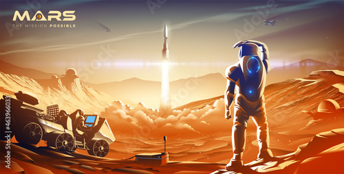 Photographie The scientific vector illustration of a colony on Mars in the near future features the launching mission of the rocket into the atmosphere in one of the colonies
