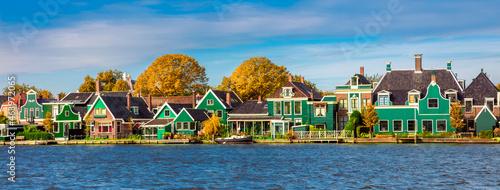 Dutch village Zaanse Schans near Amsterdam. Typical Dutch wooden green houses. Holland, Netherlands