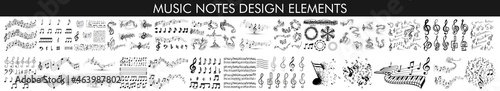Foto Music notes with swirls, musical background, Music notes wave isolated, group musical notes background